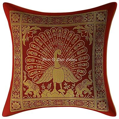 Bohemian Cushion Cover 12x12 Red Brocade Dancing Peacock 1 Pc Scatter Pillowcase • 7.96£