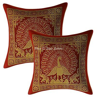 Decorative Cushion Covers 12 X 12 Red Brocade Peacock Set Of 2 Boho Pillowcases • 10.96£