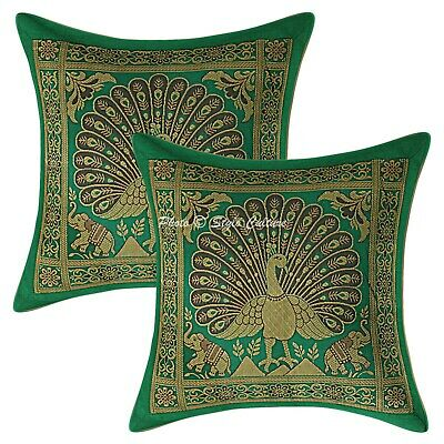 Traditional Cushion Covers 12 X 12 Peacock Brocade Scatter Pillowcase Set Of 2 • 10.96£