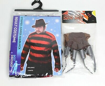 Halloween Red Black Jumper And Horror Claw Glove Freddy Nightmare • 9£