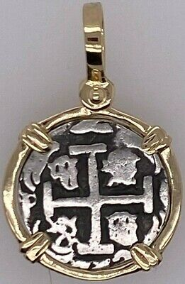 ATOCHA Coin Design Pendant 1600-1700 14k Yellow Gold Treasure Shipwreck Jewelry • 214$