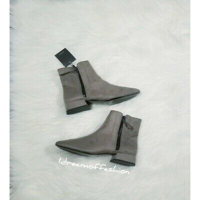 ZARA Flat Faux Suede Ankle Boots Size 5 US  • 39$
