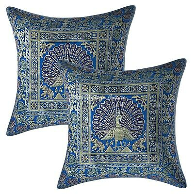 Ethnic Cushion Covers 16x16 Turquoise Brocade Peacock Set Of 2 Boho Pillowcases • 11.96£