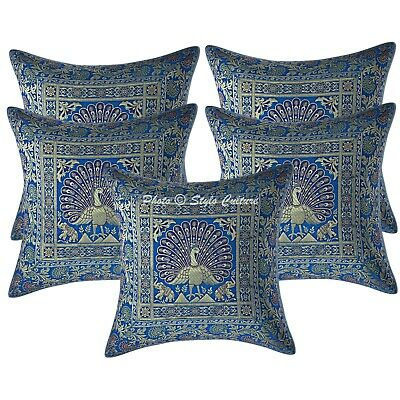 Traditional Cushion Covers 16 X 16 Turquoise Brocade Dancing Peacock Set Of 5 • 18.96£