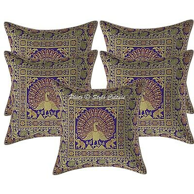 Indian Cushion Covers 16x16 Purple Brocade Dancing Peacock Pillowcases Set Of 5 • 18.96£