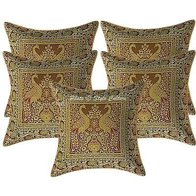 Decorative Cushion Covers 16 X 16 Brown Brocade Peacock Set Of 5 Pillow Cases • 18.96£