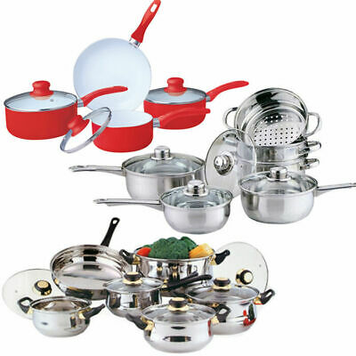 New Cookware Set Saucepan Frying Pan Pot Stainless Steel Non Stick Glass Ceramic • 27.85£