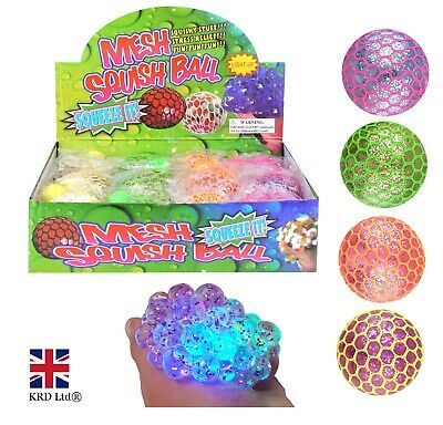 LED Light Up MESH SQUISHY BALLS Stress Relief Kids Party Bag Filler Toy N51504 • 6£