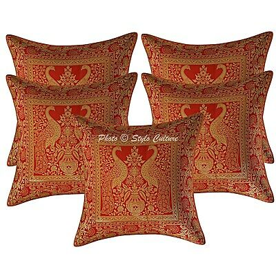 Scatter Cushion Covers Red 40x40 Cm Jacquard Brocade Peacock Throw Pillow Cases • 21.39£