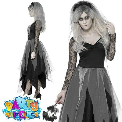 Ladies Zombie Corpse Bride Costume Sexy Ghost Widow Graveyard Fancy Dress Womens • 15.99£