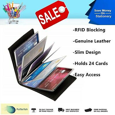 AU4.49 • Buy Amazing Slim Genuine Leather Wallet RFID Scan Blocking Protection TV 24 Cards AU