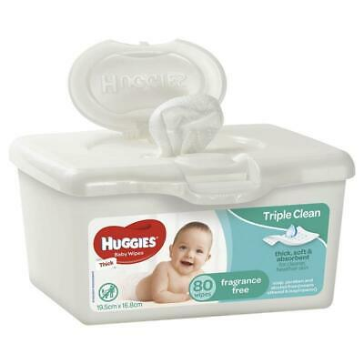 AU5.79 • Buy Huggies Baby Wipes Unscented 80 Tub - Assorted Colours Triple Clean* Technology