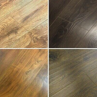 12mm Embossed Laminate Flooring Textured Rustic Oak Wood Drop Lock Underlay • 44.32£