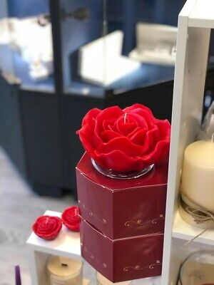 Scented Candle Large With Rose Essential Oil Floating Candle Red • 32£