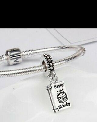 HAPPY BIRTHDAY CARD Charm Bead Dangle 925 Sterling Silver NEW. • 3£