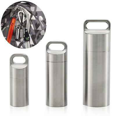 Stainless Steel Pill Storage Case Bottle Holder Keychain Box Capsule Container • 3.37$