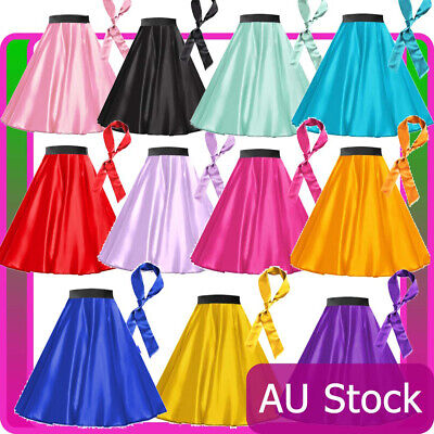 AU24.23 • Buy Womens Satin Rock N Roll Skirt Scarf 1950s Costume 50s Retro Grease Fancy Dress