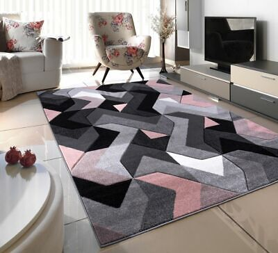 Rose Pink Blush Thick Hand Carved Soft Heavy Large Area Floor Rug Runner Mats • 16.99£