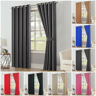 Thick Thermal Blackout Ready Made Eyelet Ring Top Pair Curtains Panel +Tie Backs • 17.99£