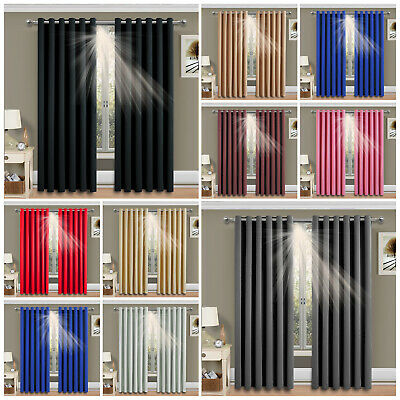 Thick Thermal Blackout Ready Made Eyelet Ring Top Pair Curtains Panel +Tie Backs • 28.99£