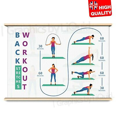 Back Stretching Exercise Training Poster Art Print | | A4 A3 A2 A1 | • 2.99£
