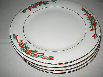 $7.64 • Buy Tienshan Poinsettia And Ribbons Salad Plates X 4 Excellent  7+  D