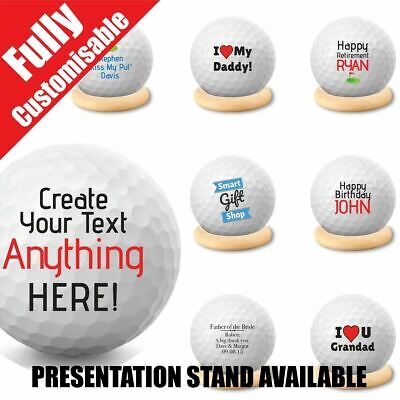 Personalised Golf Ball Grandad Father's Day Wedding Custom Text + Stand Option • 7.99£