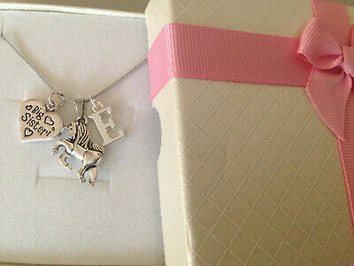 Children Adult Unicorn Heart Charm Necklace N Gift Box Choose Initial • 5.99£