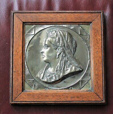 £200 • Buy Old  Bronze  Brass Plaque Of Queen Victoria, Solidly Framed In Oak Signed