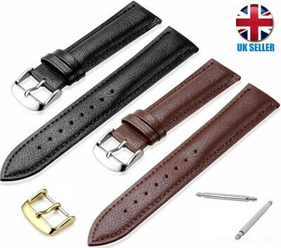 £3.99 • Buy Gold Siliver Black Brown Leather Watch Strap Band Size 14-16-18-20-22.24mm