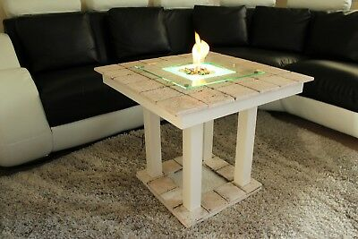 £270 • Buy Solid Coffee Table  Fire Pit LED Table Bio-Ethanol Fireplace Burner Patio Heater