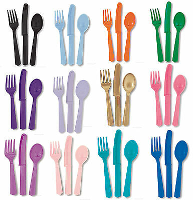 £2.14 • Buy Plastic Party Assorted Cutlery 18 Pack Solid Plain Colours Tableware Decoration