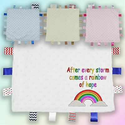 Rainbow Of Hope Embroidered Baby Dimple Taggy Gift Blanket Unisex Boy Girl • 9.45£