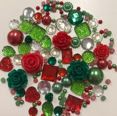 XMAS COLOURS Red/Green Set - Pearls/Roses/Gems Flatback Cabochons Decoden Craft • 2.99£