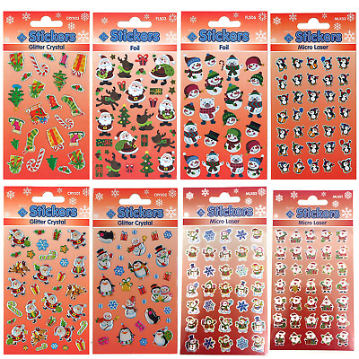 Christmas Decoration Stickers Glitter Crystal & Foil Xmas Card Scrap Booking P/P • 2.15£