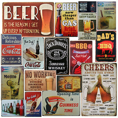 £5.85 • Buy Funny Beer Metal Wall Plaque Collection - Retro Bar Pub Diner Man Cave Tin Sign