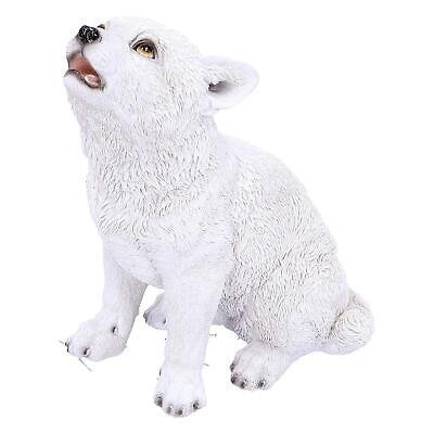 Arctic Wolf Pup Statue Snow Wolf Puppy Figurine Hand Painted Ornament Figure NEW