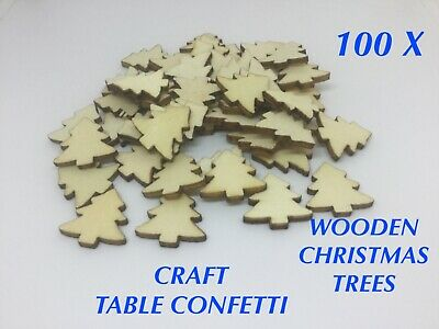100 X Wooden Christmas Crafts Card Making Decorations Star, Tree, Snowflakes  • 2.99£