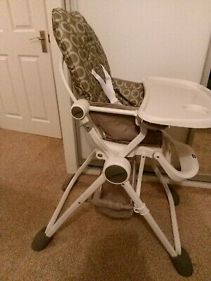CHICCO POCKET LUNCH FOLDING HIGH CHAIR - Grey - 3 Position Reclining To 15kg £79 • 49.99£