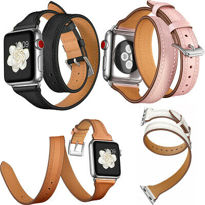 AU33.99 • Buy Au Leather Double Tour Replacement Band For Apple Watch Series 1 / 2 / 3 / 4 New