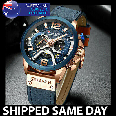 AU34.95 • Buy B329 CURREN MENS FASHION DRESS WATCH Gold Waterproof Water Resistant Business 82