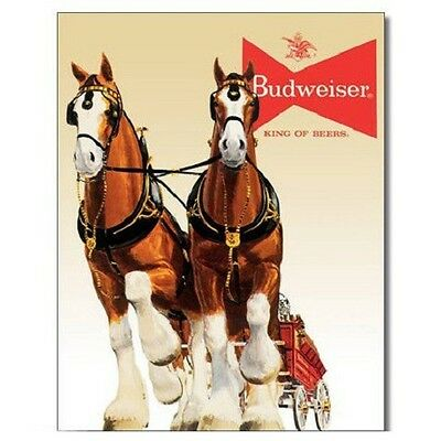 $ CDN13.30 • Buy Budweiser Bud Beer Clydesdale Team Vintage Retro Style Decor Metal Tin Sign New