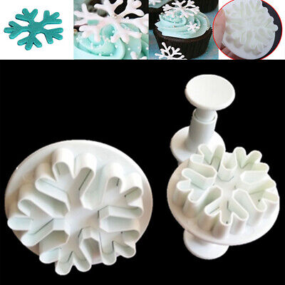 £3.79 • Buy 3X Snowflake DIY Mould Sugar Cookie Mold Craft Fondant Cake Decor Cutter Plunger
