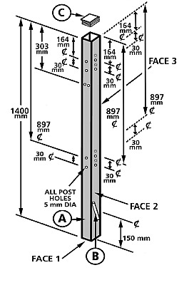Universal Metal Gate Fence Post Flat Top 50x50x1400mm Pre-drilled Concrete-in • 12£