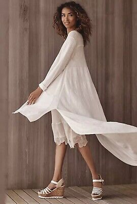 $ CDN56.40 • Buy Anthropologie Islet Duster Cardigan By Moth Ivory Buttondown Tunic Size L Large