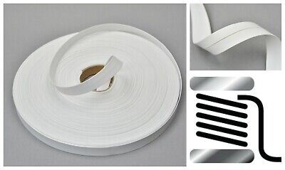 White 15 Mm Italian Faux Leather Flat Folded Ribbon Trimming Tape Strap Vegan  • 2.99£