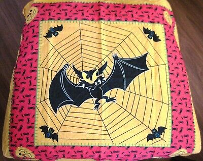 $ CDN32.85 • Buy Fantastic Vintage  Halloween Scarf  W/ Large Bat Caught In Spider Web    *