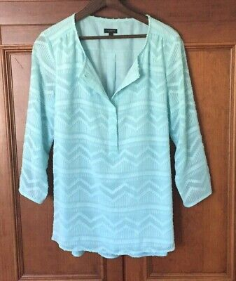 $9.95 • Buy ⛵️ TALBOTS Aqua Blue Textured Lined Popover 3/4 Sleeve Henley Blouse NWOT M