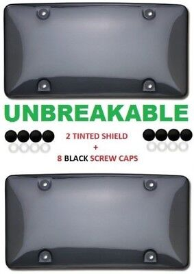 $7.40 • Buy 2 X Smoke Tinted Bubble Shield Protector License Plate Frame Cover Front/rear