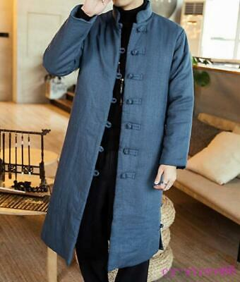 $75.59 • Buy Mens Linen Long Tang Suit Coats Robe Parkas Chinese Style Cotton Jackets Vintage